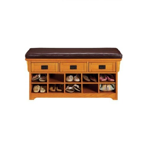 Shoe Storage Bench with Leather Top